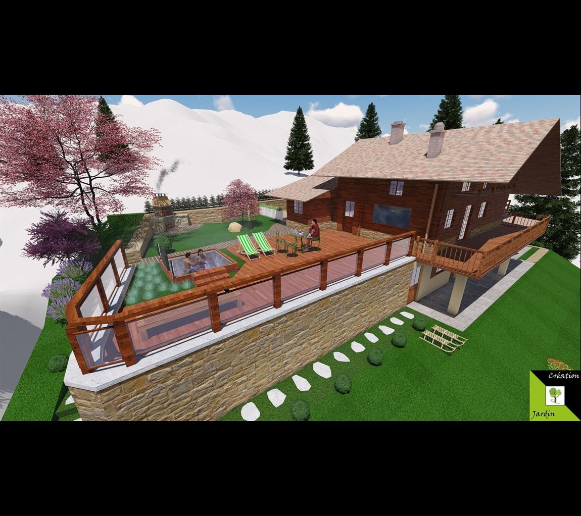 architecte paysagiste haute savoie. cration de terrasses en